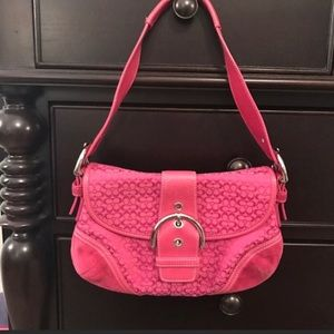 Coach Pink Canvas Suede Small Hobo Shoulder Purse
